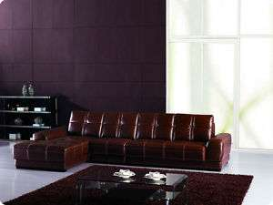 Modern tufted leather sectional sofa chaise chair set