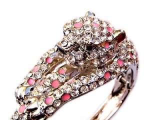 Clear SWAROVSKI Crystal Pink Enamel Leopard BRACELET