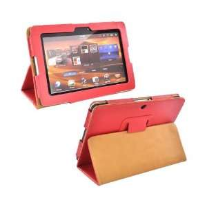 Red Brown Premium Leather Stand Case Cover w Magnetic