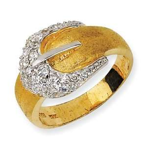 Gold plated Sterling Silver Satin Belt CZ Ring Size 6