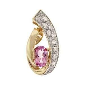 Pink Topaz (Oval) and Diamond Gold Pendant 10K Yellow