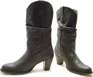 NINE WEST BROWN SLOUCH LEATHER COWBOY WESTERN BOOTS SZ 10M 10 M