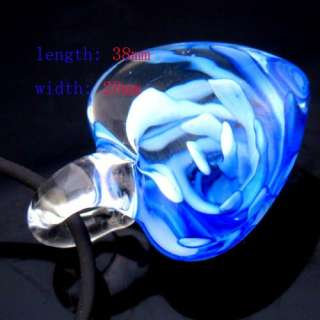 Blue Multi Colors Murano Lampwork Glass Heart Pendant Necklace Fashion