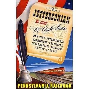 PENNSYLVANIA RAILROAD JEFFERSONIAN COACH TRAIN AMERICAN VINTAGE POSTER