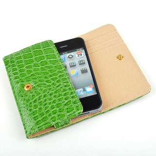 Leather WALLET Case Cover For iPhone 4 4G 3G 3GS 2G Green
