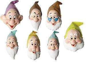 DISNEY Snow White Dwarves DWARFS Fancy Dress COSTUME MASKS Set of 7