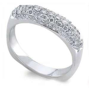 0.45CT Round Pave Diamond Eternity Ring 18k Gold Jewelry