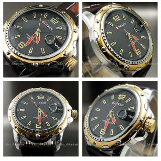 NEW DIAL CLOCK HOURS HAND DATE WATER BLACK BROWN LEATHER MEN WRIST