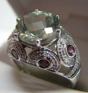 DELIGHTFUL 14K GOLD BERYL TOURMALINE DIAMOND RING
