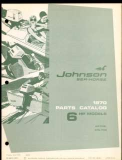 1970 JOHNSON 6HP OUTBOARD MOTOR PARTS MANUAL