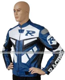 Mens R Blue Motorcycle Biker Racing Leather Jacket