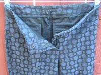 Womens Designer THEORY Pants Black & Dark Purple/Blue Print Stretch