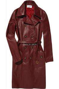 WOMENS LAMBSKIN LEATHER LONG WINTER MILITARY TRENCH COAT JACKET TAYLOR