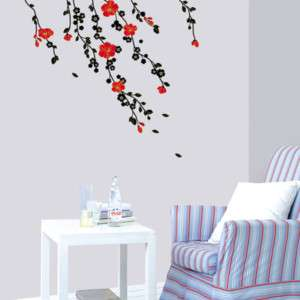 RED BLOSSOMS   Mural Art Wall Stickers Removable Vinyl