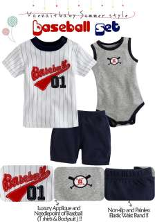 NWT Vaenait Baby Newborn Baby Boys Top Bodysuit Pants 3 Set