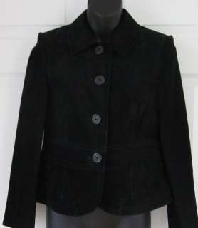 Ann Taylor Womens Black Suede Leather Short Coat 4P Petite * Sharp