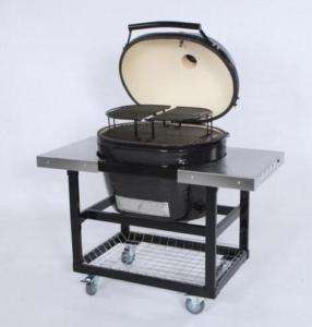 Primo Oval XL Charcoal Smoker BBQ Grill Cart Shelves