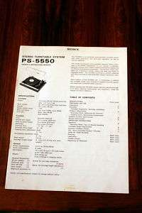 Sony PS 5550 Turntable Owners Manual *Original*