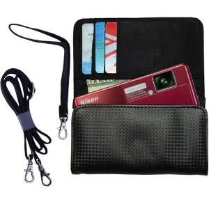 Black Purse Hand Bag Case for the Nikon Coolpix S70 with both a hand