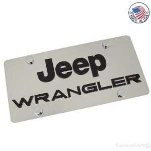 Jeep Logo & Wrangler Name On Polished License Plate