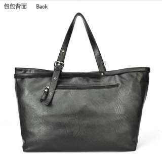 Womens Studded Satin Faux Leather Zip Black Large Totes Shopper