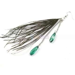 Stylish Pretty Peacock Feather Silk hang Style Dangle Eardrop Earrings