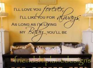 ll Love You Forever Baby Nursery VINYL Wall Decal/words/lettering