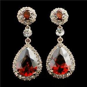 Dangle Earring Pierced Red Swarovski Crystal Flower Floral Teardrop