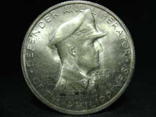 1947s PHILIPPINES GEN. DOUGLAS MACARTHUR one peso silver coin 38mm VF+