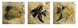 Set/3 Capiz Shell Tropical Fish Wall Panels Plaques Art