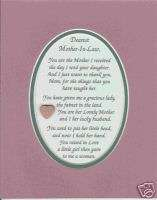 LAW Mom Frm SON IN LAW Wed Your DAUGHTER verses poems plaques