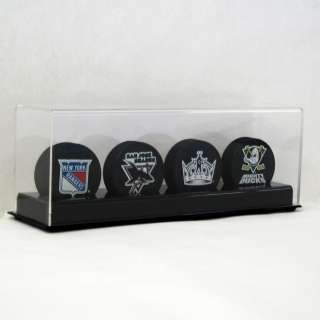 DELUXE ACRYLIC FOUR 4 HOCKEY PUCK DISPLAY CASE HOLDER