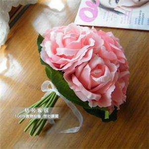 Pink Silk Roses Buds Wedding Bouquet Bridal Silk Flower