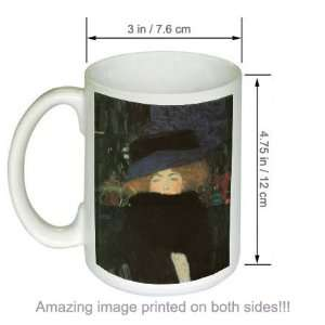 Klimt Art COFFEE MUG Lady with Hat and Feather Boa Kitchen & Dining