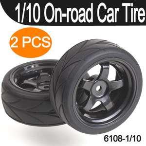 2pcs Tires 6108, 1/10 ON ROAD RC CAR Wheel, Rim & Tyre