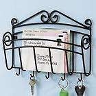 Black Iron Wall Mail Letter Key Holder Office Home Work Organizer