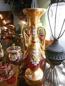 Venetian Ruby Red Enamel Flowers Gold Gild Fluted Pedestal Vase Murano