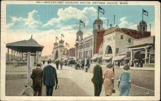 REVERE BEACH MA Blvd Street Scene Old Postcard