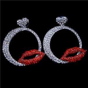 Hot Red Kiss Lip Dangle Earring Clear Swarovski Crystal