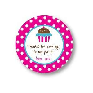 Polka Dot Pear Design   Round Stickers (Cupcake Crazy   500r)