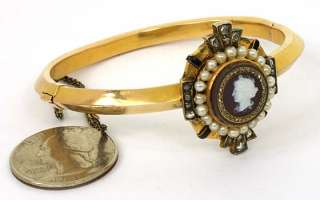 VICTORIAN 18K GOLD ROSE DIAMONDS CAMEO BANGLE BRACELET