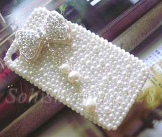 Diamond Bow White Pearls 3D Bling Hard Case Cover For Apple iPhone 4