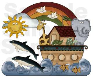 You put the 16 sheets together to make this mural of Noahs Ark.