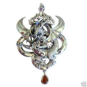925 Sterling Silver Large Dragon Pendant Necklace