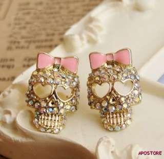 New Gift Colorful Diamond Bowknot Skull Stud Earrings BJ style Heart