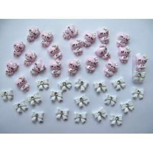 Nail Art 3d 40 Pieces Pink/White Hello Kitty & Bow for Nails