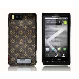 Brown Monogram Style Hard Back Cover Case for HTC Droid X