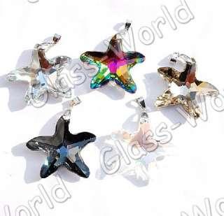 10p 38*41MM Starfish Crystal Glass Bead Pendants+Clasps