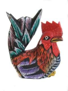 Handpainted Wooden Rooster & Hen   Wood Chicken Statue   Set of 2