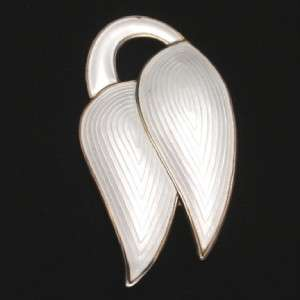 White Enamel Pin Vintage Sterling Silver Norway Brooch J.Tostrup
